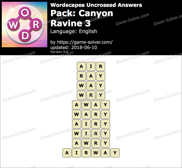 Wordscapes Uncrossed Canyon-Ravine 3 Answers