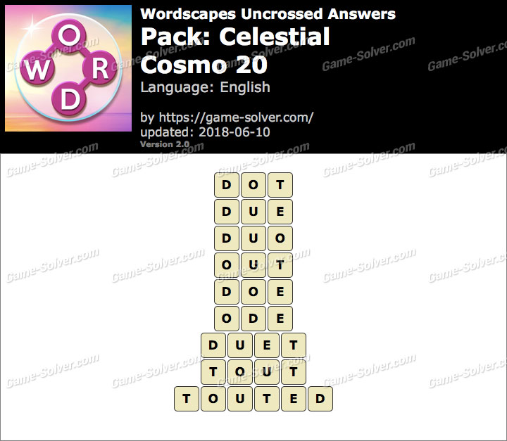 Wordscapes Uncrossed Celestial-Cosmo 20 Answers