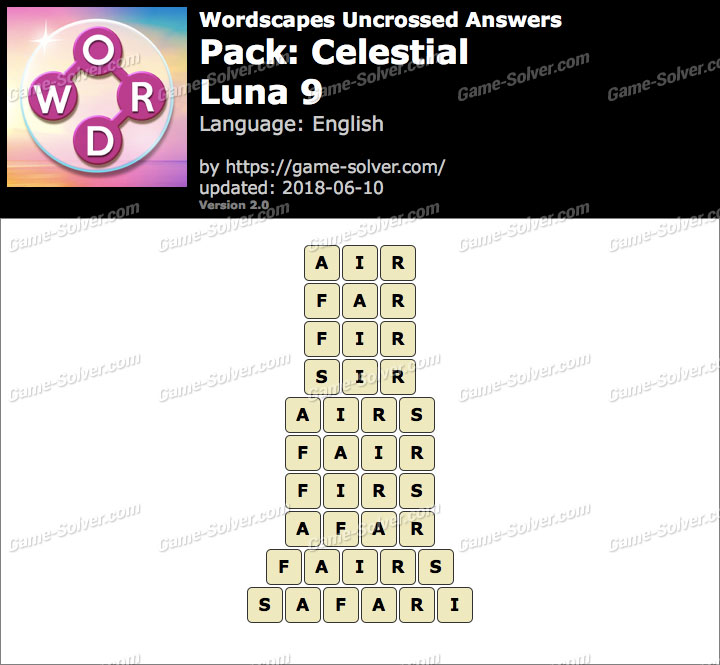 Wordscapes Uncrossed Celestial-Luna 9 Answers