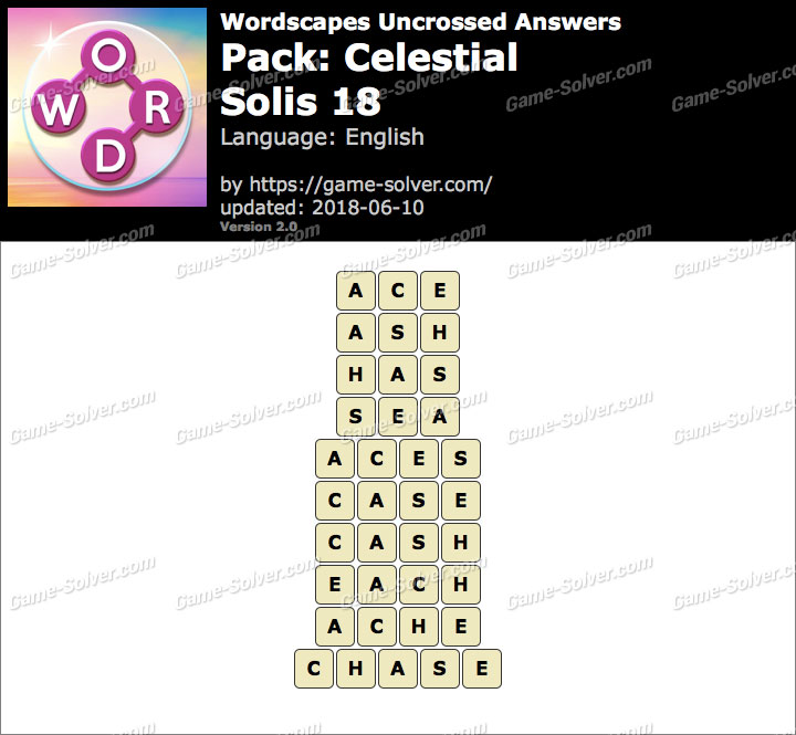 Wordscapes Uncrossed Celestial-Solis 18 Answers