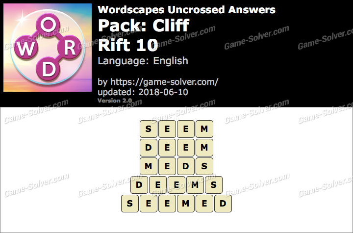 Wordscapes Uncrossed Cliff-Rift 10 Answers