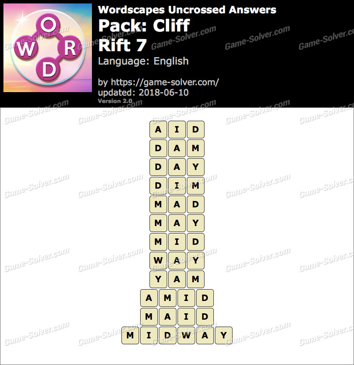 Wordscapes Uncrossed Cliff-Rift 7 Answers