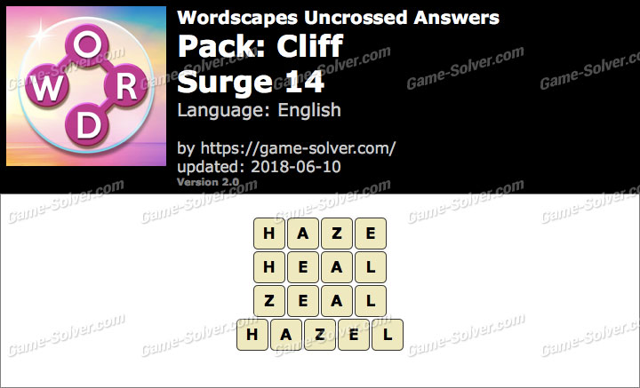 Wordscapes Uncrossed Cliff-Surge 14 Answers