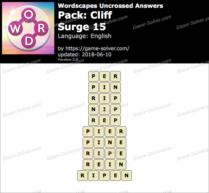Wordscapes Uncrossed Cliff-Surge 15 Answers
