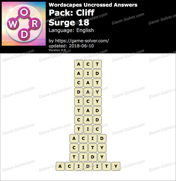 Wordscapes Uncrossed Cliff-Surge 18 Answers