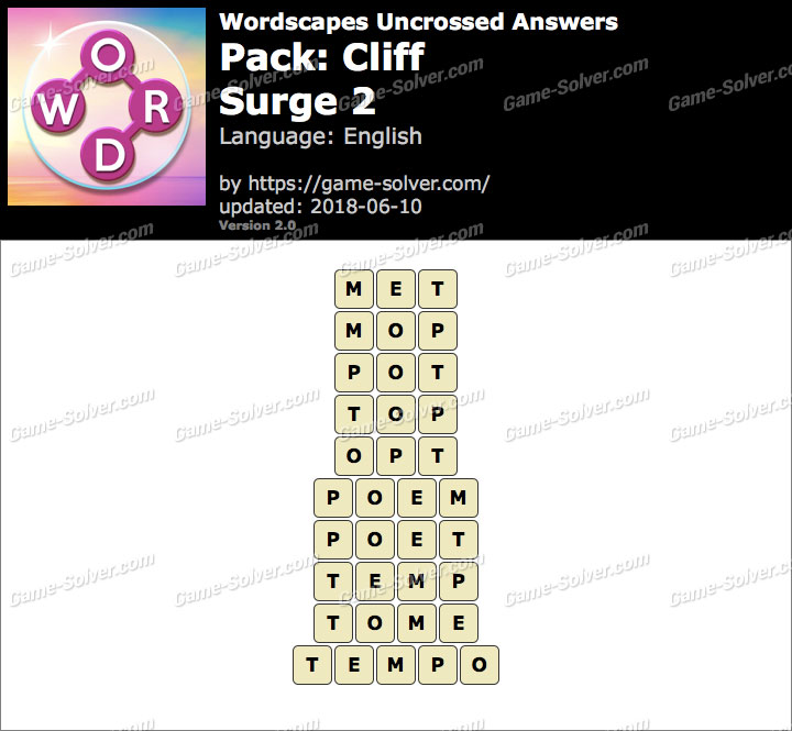 Wordscapes Uncrossed Cliff-Surge 2 Answers