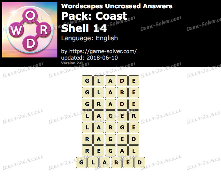 Wordscapes Uncrossed Coast-Shell 14 Answers