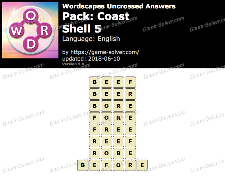 Wordscapes Uncrossed Coast-Shell 5 Answers