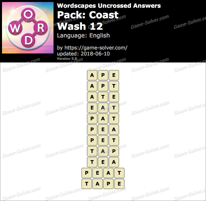 Wordscapes Uncrossed Coast-Wash 12 Answers