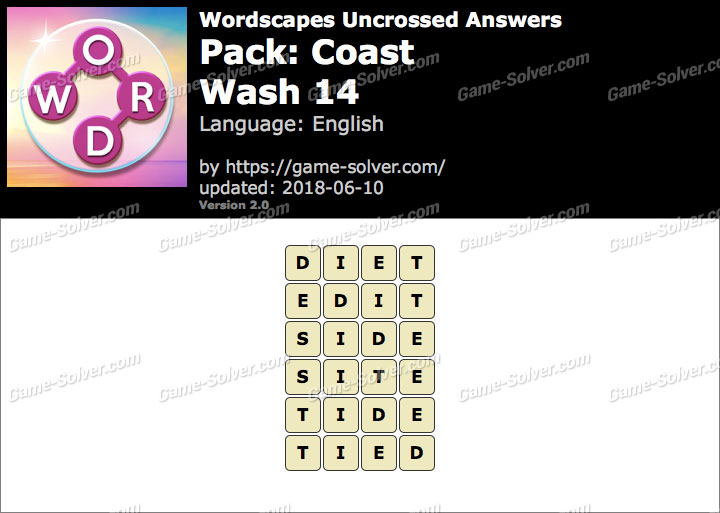 Wordscapes Uncrossed Coast-Wash 14 Answers