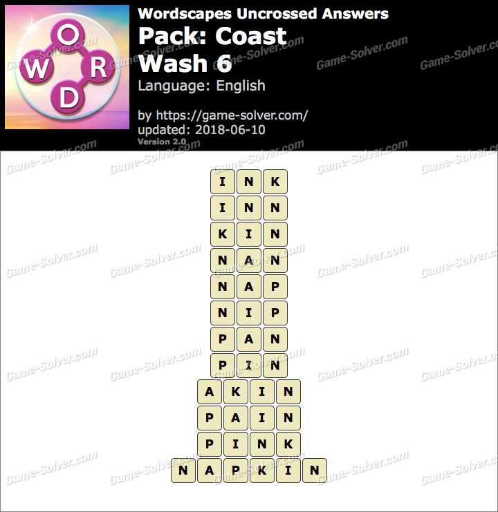 Wordscapes Uncrossed Coast-Wash 6 Answers