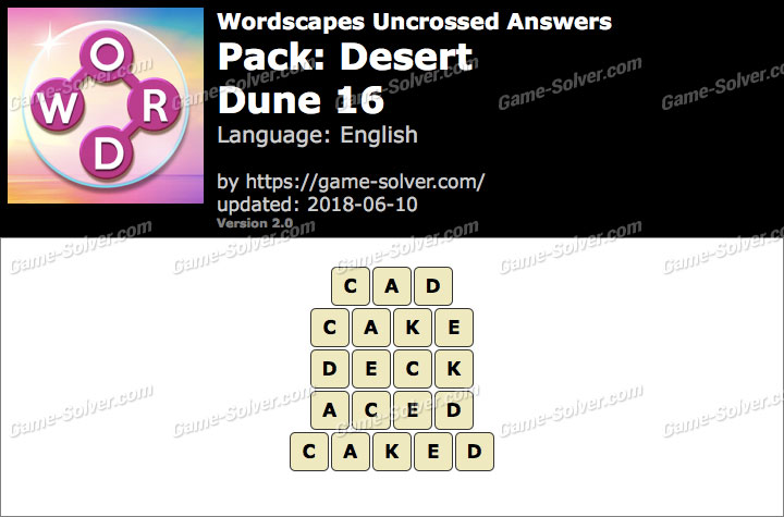 Wordscapes Uncrossed Desert-Dune 16 Answers