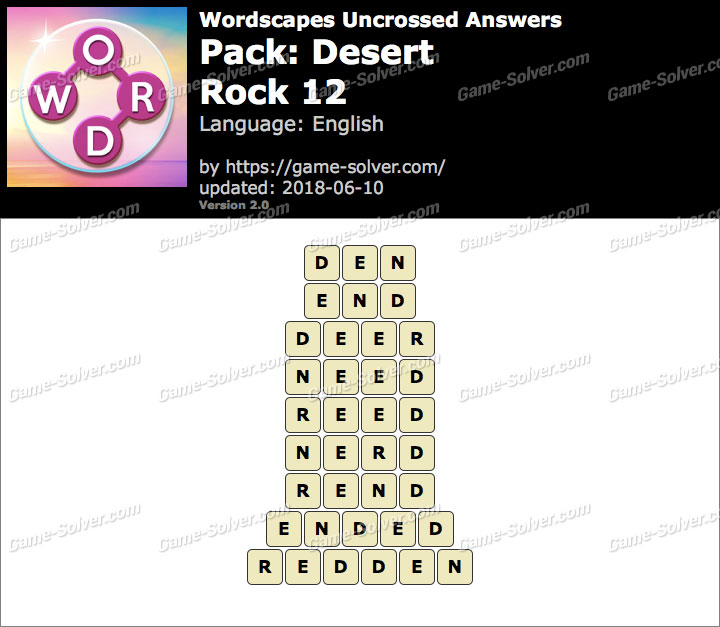 Wordscapes Uncrossed Desert-Rock 12 Answers