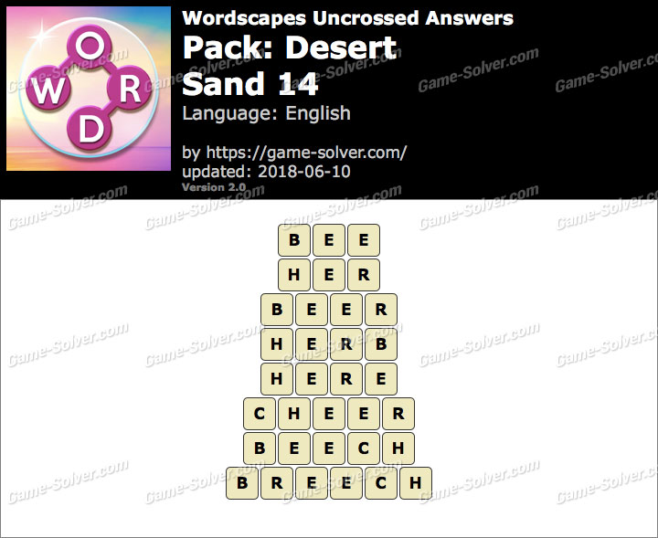 Wordscapes Uncrossed Desert-Sand 14 Answers