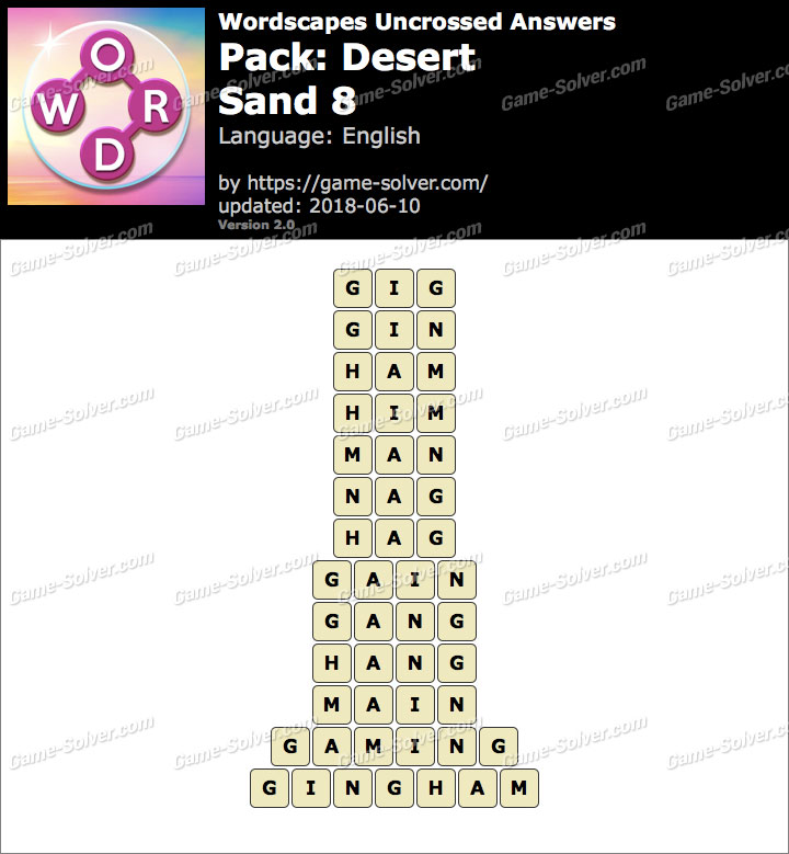 Wordscapes Uncrossed Desert-Sand 8 Answers