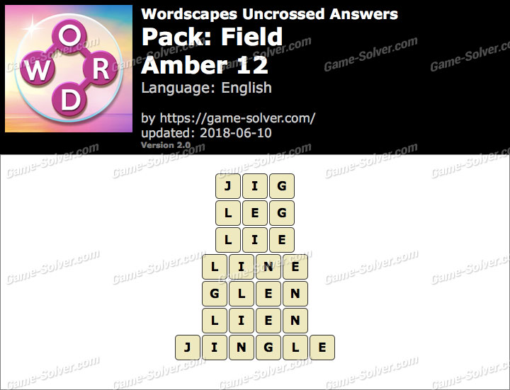 Wordscapes Uncrossed Field-Amber 12 Answers