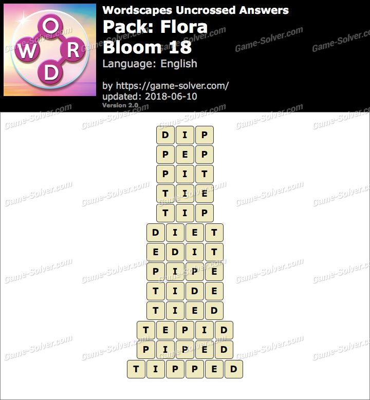 Wordscapes Uncrossed Flora-Bloom 18 Answers