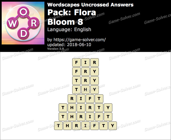 Wordscapes Uncrossed Flora-Bloom 8 Answers