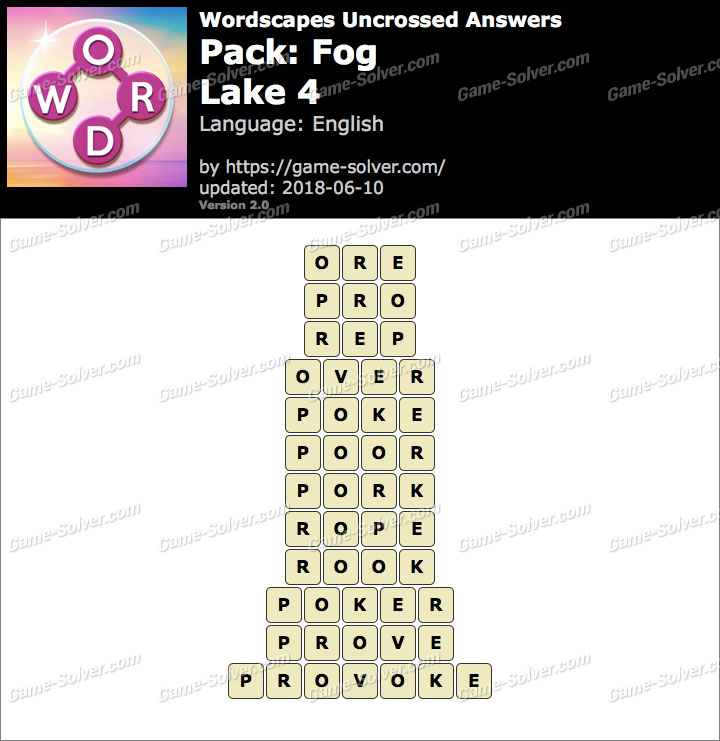 Wordscapes Uncrossed Fog-Lake 4 Answers
