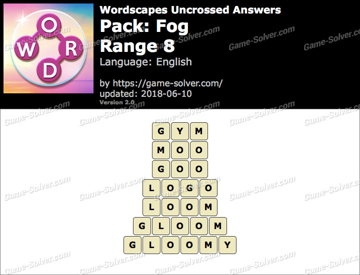 Wordscapes Uncrossed Fog-Range 8 Answers