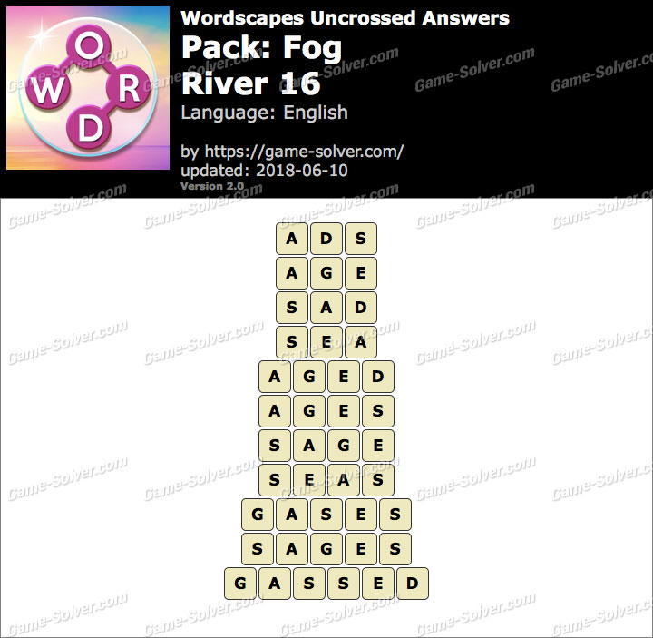 Wordscapes Uncrossed Fog-River 16 Answers