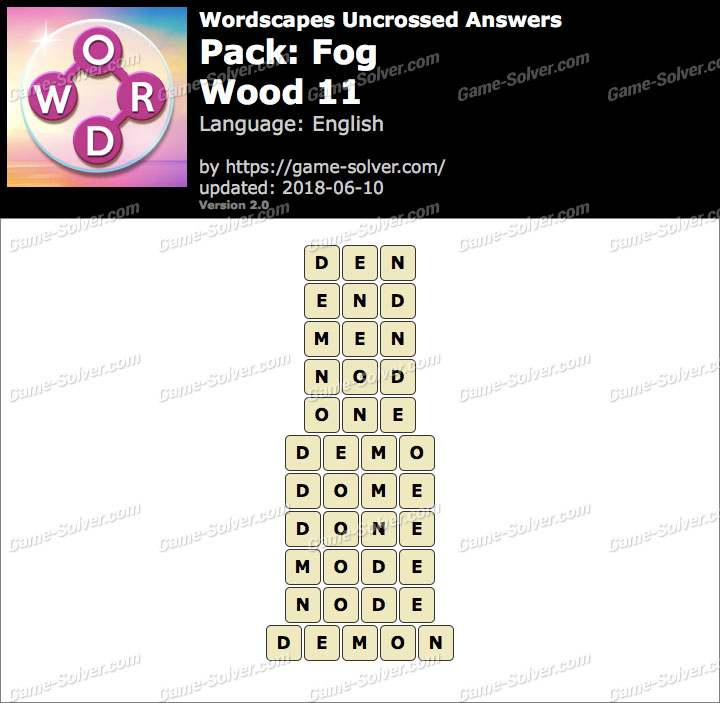 Wordscapes Uncrossed Fog-Wood 11 Answers