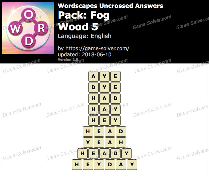 Wordscapes Uncrossed Fog-Wood 5 Answers