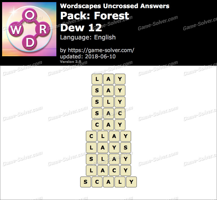 Wordscapes Uncrossed Forest-Dew 12 Answers