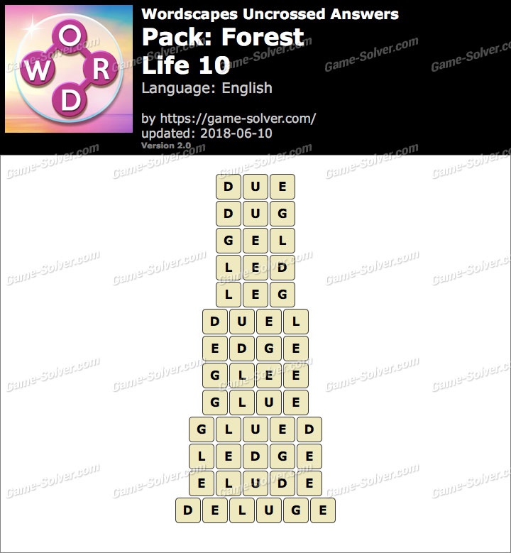 Wordscapes Uncrossed Forest-Life 10 Answers