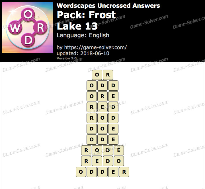 Wordscapes Uncrossed Frost-Lake 13 Answers