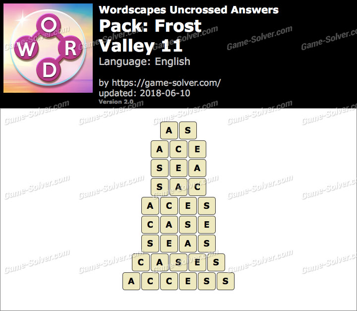 Wordscapes Uncrossed Frost-Valley 11 Answers