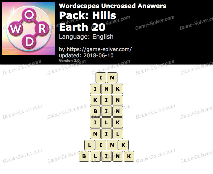 Wordscapes Uncrossed Hills-Earth 20 Answers