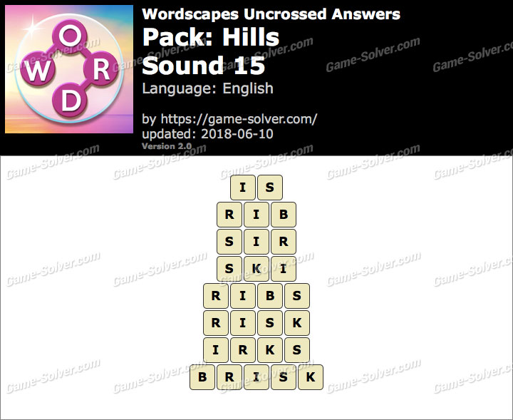 Wordscapes Uncrossed Hills-Sound 15 Answers