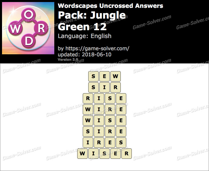 Wordscapes Uncrossed Jungle-Green 12 Answers