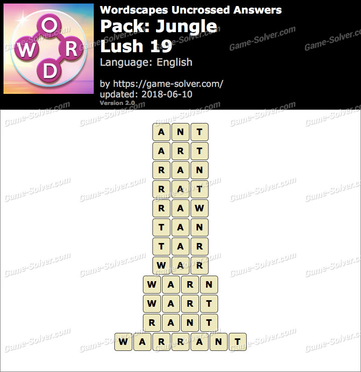 Wordscapes Uncrossed Jungle-Lush 19 Answers