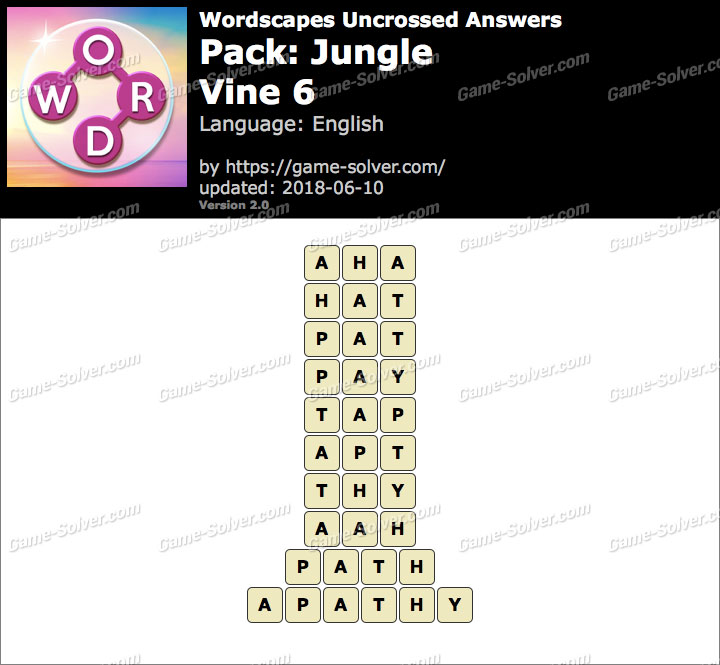 Wordscapes Uncrossed Jungle-Vine 6 Answers