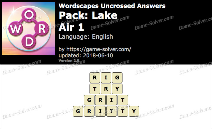 Wordscapes Uncrossed Lake-Air 1 Answers
