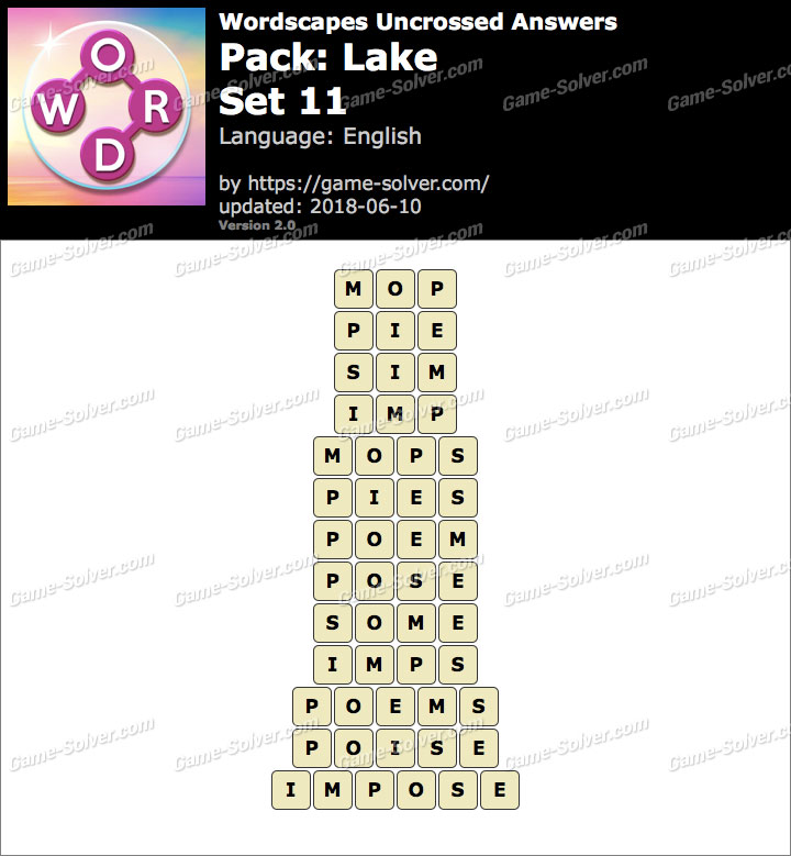Wordscapes Uncrossed Lake-Set 11 Answers