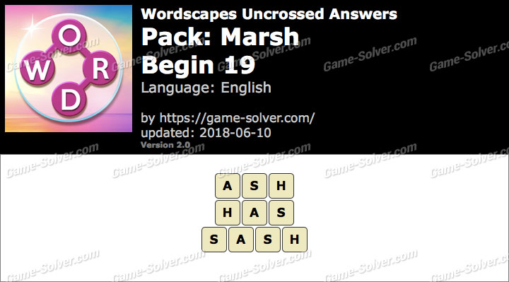 Wordscapes Uncrossed Marsh-Begin 19 Answers