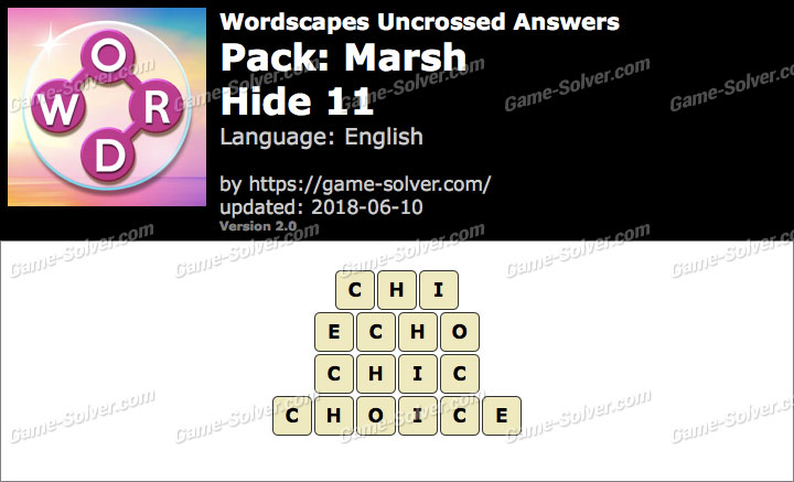 Wordscapes Uncrossed Marsh-Hide 11 Answers