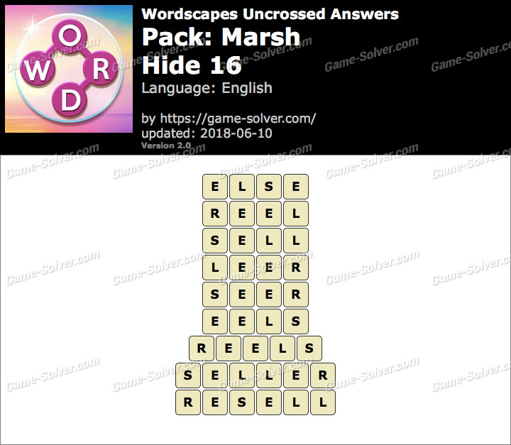 Wordscapes Uncrossed Marsh-Hide 16 Answers