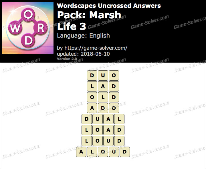 Wordscapes Uncrossed Marsh-Life 3 Answers