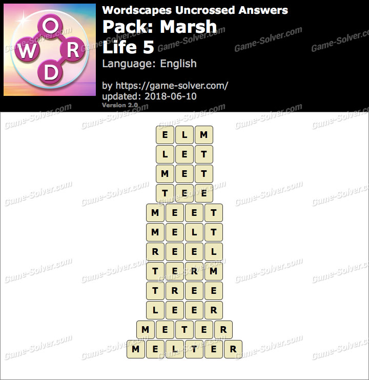 Wordscapes Uncrossed Marsh-Life 5 Answers