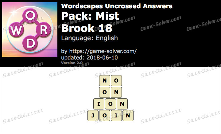 Wordscapes Uncrossed Mist-Brook 18 Answers
