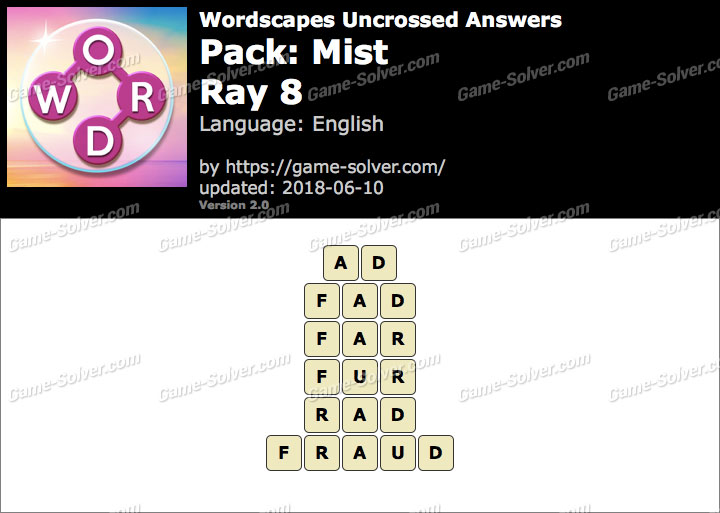 Wordscapes Uncrossed Mist-Ray 8 Answers