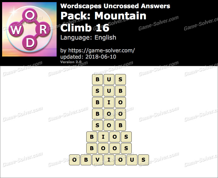 Wordscapes Uncrossed Mountain-Climb 16 Answers