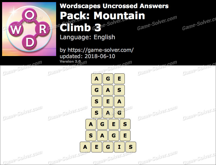 Wordscapes Uncrossed Mountain-Climb 3 Answers