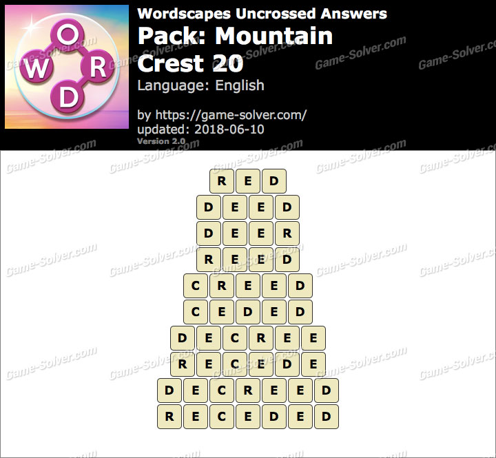 Wordscapes Uncrossed Mountain-Crest 20 Answers