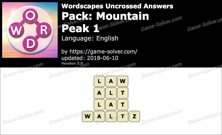 Wordscapes Uncrossed Mountain-Peak 1 Answers