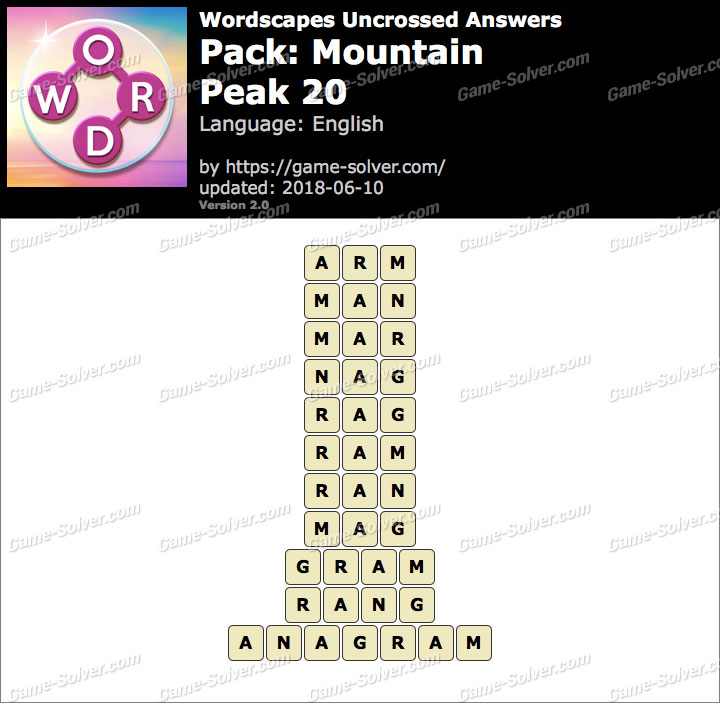 Wordscapes Uncrossed Mountain-Peak 20 Answers